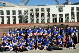 Year 7 students outside parliament house